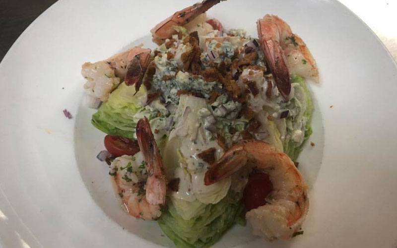 The Wedge Salad with prawns.
